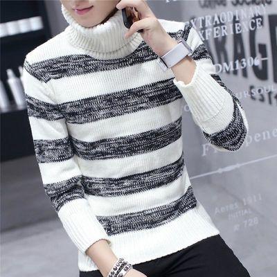 男士高领毛衣冬季加厚韩版潮流青少年冬天长领针织衫条纹毛线衣男