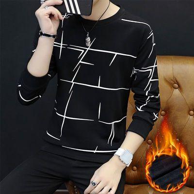 新品加绒卫衣男加厚长袖T恤韩版修身弹力青年上衣男装套头体恤衫