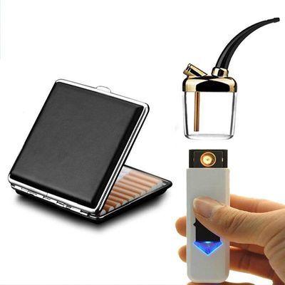 【烟民必备】【USB充电打火机 水烟壶 烟盒20支装】USB充电点烟器