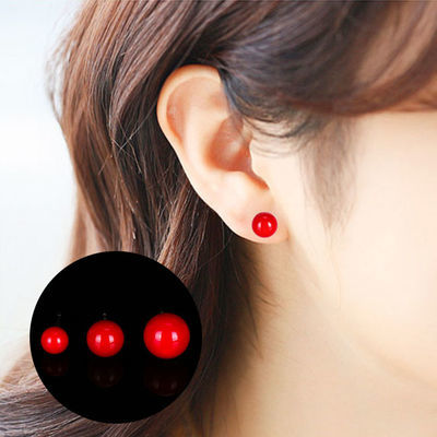 网红韩版s925纯银防过敏简约百搭红色球珠子耳钉气质潮款耳环银饰