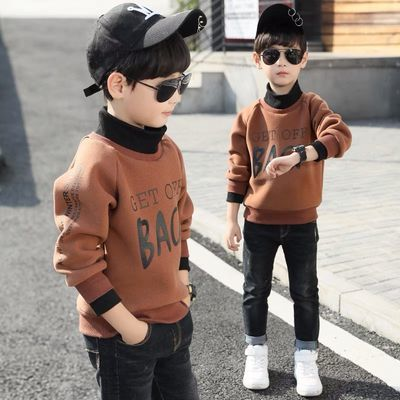 男童卫衣2020春秋新款儿童装上衣加绒洋气中大童加厚t恤打底衫潮