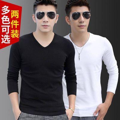 【买一送一】t恤男打底衫长袖V领韩版秋季修身纯色男士大码体恤衫