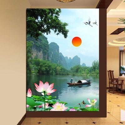 荷花山水画 海报 装饰画莲花荷叶绿色植物客厅玄关门走廊自贴挂画