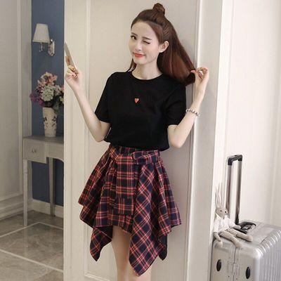 2020春夏装新款网红套装裙女短袖T恤高腰不规则格子半身裙两件套
