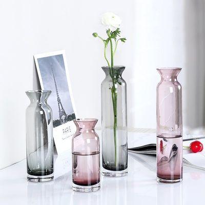 简约透明玻璃花瓶直筒干花插花小花瓶家居客厅餐桌办公桌装饰摆件