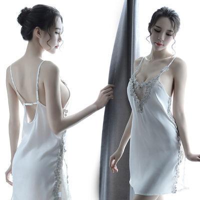 新款女士性感吊带蕾丝镂空睡裙水溶花边网纱高开叉刺绣蕾丝裙