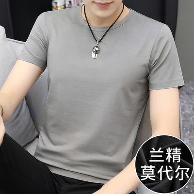 视客 莫代尔短袖t恤男士潮流圆领纯色夏季男装上衣服冰丝半袖修身