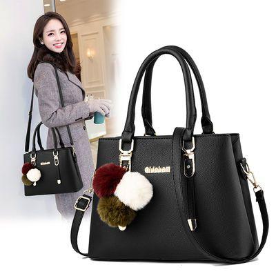 真皮质感包包女2020新款韩版手提包时尚大容量中年女包单肩斜挎包