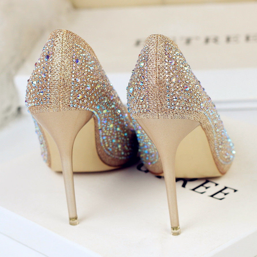 Buy Wedding shoes women's 2019 spring and autumn new crystal