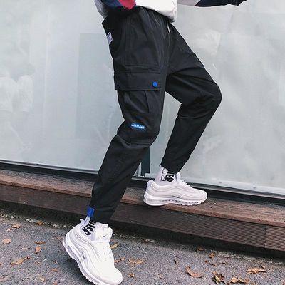 工装裤男潮牌余文乐百搭小脚宽松束腿韩版学生潮流休闲裤九分裤子