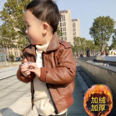 宝宝加绒男1-2-3岁15儿童皮夹克男童秋冬装宝宝外套加厚夹克