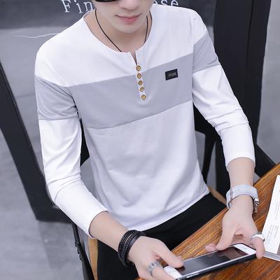 【高品质95%棉】春秋季男士长袖t恤男卫衣圆领打底衫韩版潮流男装
