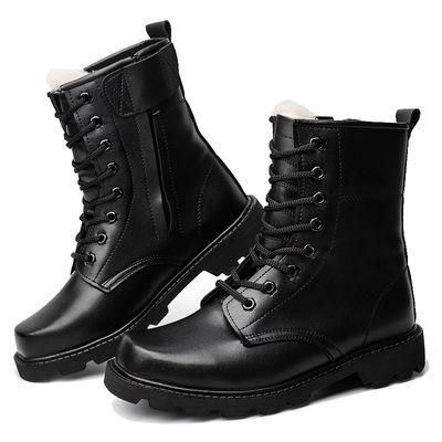 正品钢头军靴男士高帮战靴特种兵靴子羊毛军勾棉鞋马丁靴冬季