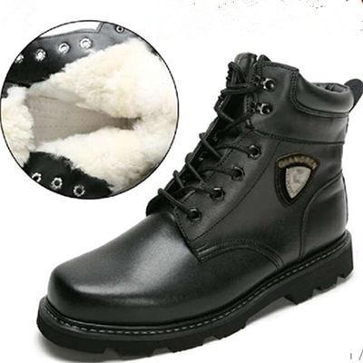 保暖羊毛靴军靴男特种兵加绒户外真皮雪地靴军勾系带短靴防滑耐磨