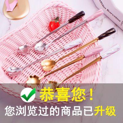 咖啡搅拌勺子不锈钢韩式可爱樱花陶瓷长柄加厚调羹学生儿童甜品勺