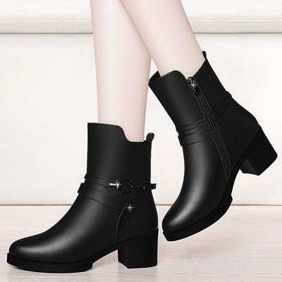 【优质软皮】秋冬季短靴女鞋粗跟中筒靴女皮靴中跟加绒棉靴女靴子