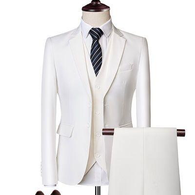 西服套装男修身三件套商务正装职业小西装伴郎新郎结婚礼服套装