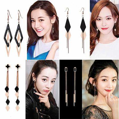 显脸瘦的耳环女长款超仙夏季气质流苏韩国钛钢时尚潮百搭2018耳线