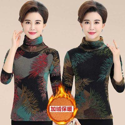妈妈装加绒加厚打底衫女大码中老年女装保暖上衣秋冬高领长袖T恤