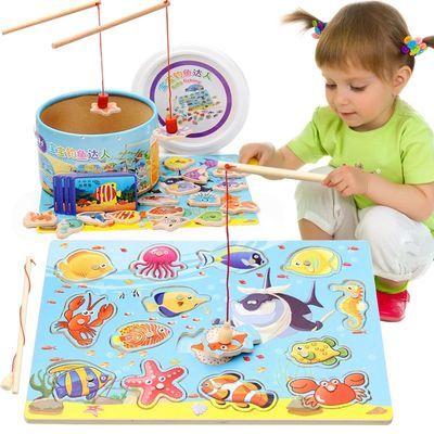 木质儿童磁性钓鱼玩具  木制小猫双杆钓鱼套装益智过家家积木游戏