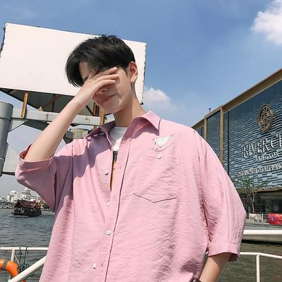 夏季港风衬衫男短袖韩版宽松外穿情侣百搭学生帅气男生粉色衬衣