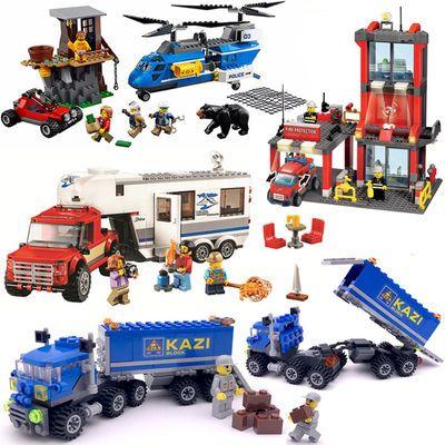 兼容乐高积木城市卡车6警察局7变形金刚大黄蜂8男孩玩具儿童礼物