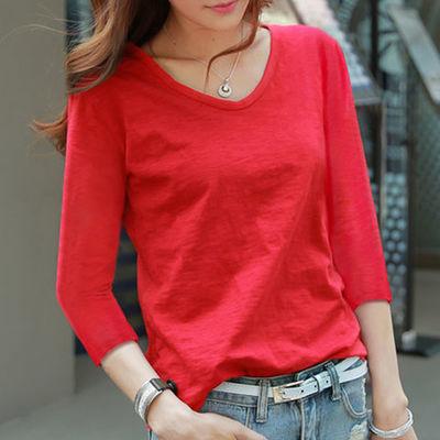 七分袖t恤女2020新款春装宽松V领红色上衣竹节棉纯色中袖打底衫