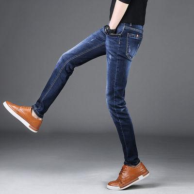 春季新款牛仔裤男弹力修身韩版时尚学生小脚裤男休闲小直筒男