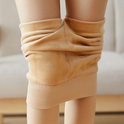 加绒加厚打底裤连裤袜大码光腿高腰肤色神器秋冬季女外穿保暖裤子