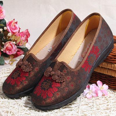 老北京布鞋女老人60-70-80岁奶奶防滑平底妈妈老婆鞋大码单鞋春夏