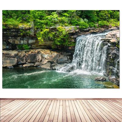 瀑布海报 客厅公司风水画装饰画高山流水生财风景画山水贴画挂画