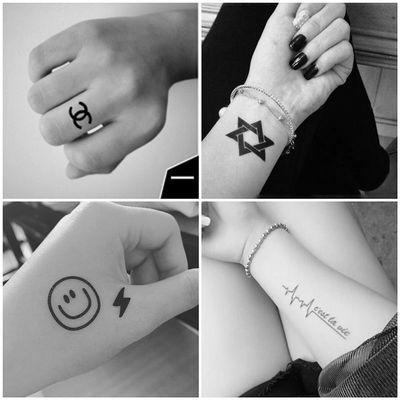 手指手背纹身贴防水男女韩国小清新卡通可爱简约线条手掌仿真刺