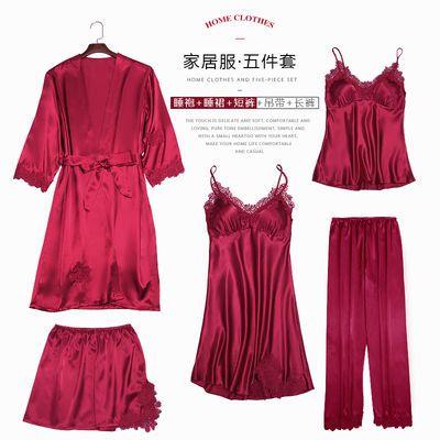 带胸垫冰丝睡衣女秋春长袖五件套真丝绸夏吊带性感睡裙家居服套装