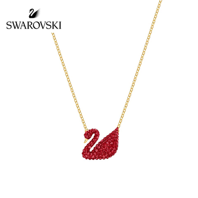 施华洛世奇新款Swarovski红色天鹅吊坠项链送女友节日礼物