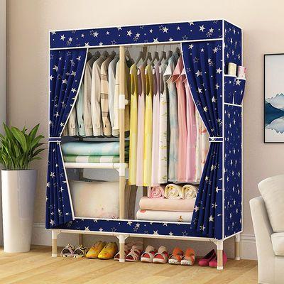 大衣柜实木推拉门移门儿童双人家用卧室收纳架组装松衣橱成人定