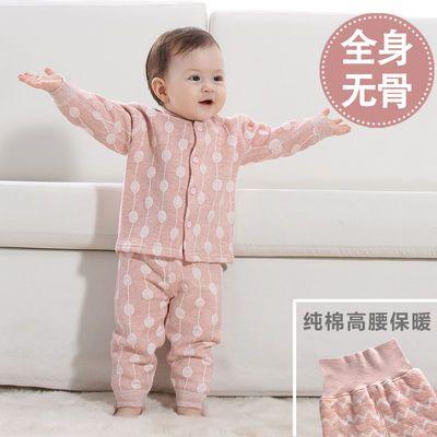 婴儿三层保暖衣服套装加厚纯棉女宝宝春秋冬装幼儿童小孩男孩上衣