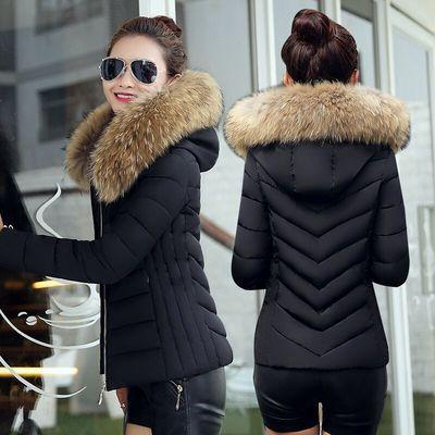 反季冬季新款大毛领棉衣女短款修身加厚大码羽绒棉服韩版小棉袄