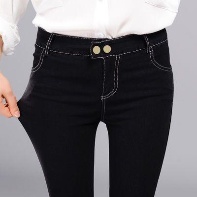 学生春秋百搭高腰紧身薄款打底裤女外穿小脚裤子女显瘦黑色铅笔裤