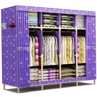 衣柜小户型简约现代经济型组装家用柜子实木推拉门移门大衣橱组