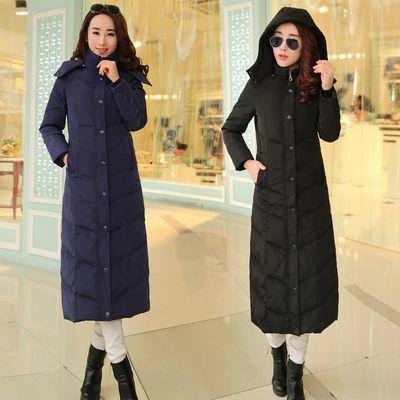 冬季新款超长款羽绒服女装加长过膝可脱卸帽保暖加厚大码修身外套