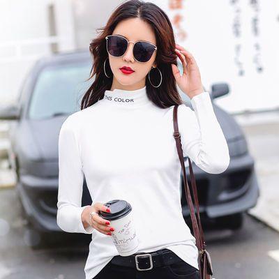 不加/加绒 秋冬韩版修身黑色半高领打底衫女长袖加绒新款百搭洋气