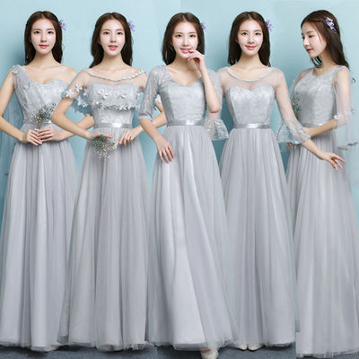 宴会晚礼服裙女2018新款高贵学生声乐艺考法式礼服气质长款伴娘