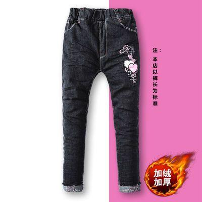 2020冬季新款加绒加厚牛仔裤女童中大童牛仔裤女生可爱型翻边长裤