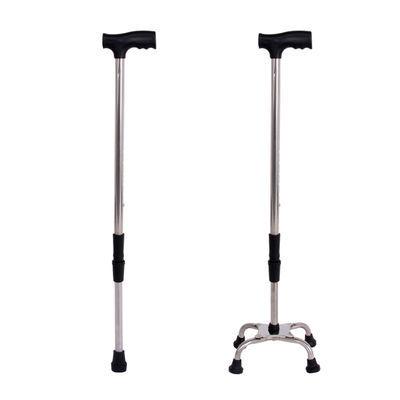 带灯老人拐杖四脚伸缩手杖老年人�E铝合金轻便多功能灯防滑拐棍