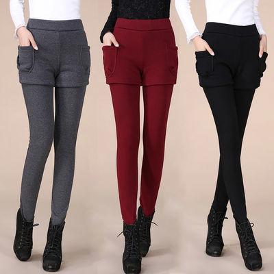 外穿保暖假两件打底裤秋冬天加绒加厚女装打底裤大码女裤高腰胖mm