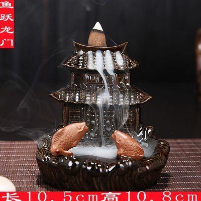 陶瓷香炉两用 紫砂年年有余陶瓷薰香炉创意一炉倒流沉线香炉摆件