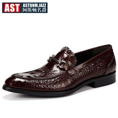 正品鳄鱼纹男鞋商务男士正装皮鞋男英伦潮男尖头鞋发型师青年婚鞋
