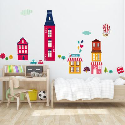 爱的小镇背景墙贴纸装饰墙贴纸墙装饰品卧室墙贴纸儿童房墙贴画