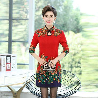 中老年女装秋冬季加绒长袖旗袍时尚大码妈妈中长款显瘦打底连衣裙