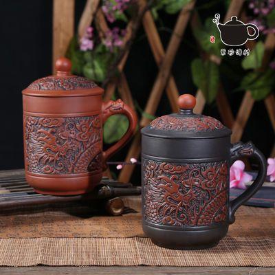 观复博物馆宜兴原矿紫砂带盖办公杯黄龙山紫泥大肚将军杯泡茶盖